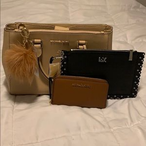 MK 4pcs set medium satchel,wristlet,wallet & acc